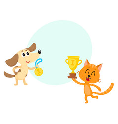 dog and red cat characters champions with golden vector image