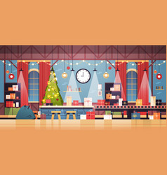 empty no people santa claus christmas factory with vector image