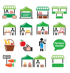Farmers market food market icons set vector