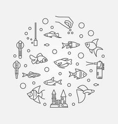 Fish tank concept circular outline vector