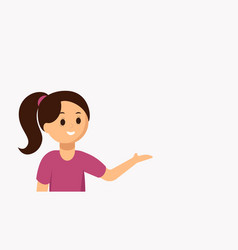 flat of girl presenting vector image