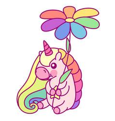 flat rainbow unicorn vector image
