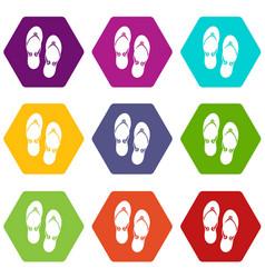 flip flop sandals icon set color hexahedron vector image