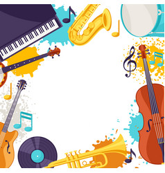 Frame with musical instruments jazz music vector