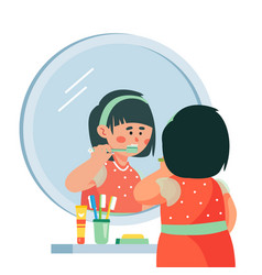 girl brushing her teeth - colorful flat design vector image