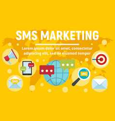 global sms marketing concept banner flat style vector image