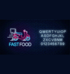 glowing neon food fast delivery sign with vector image