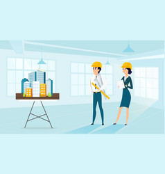 group of architects with city architecture layout vector image