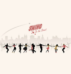 Group of young people dancing swing lindy or vector