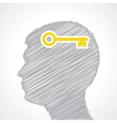 Hand drawn man s face with key in his head vector image