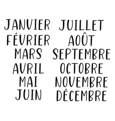 hand lettered months year in french vector image