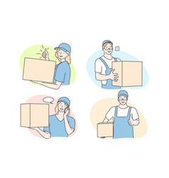 International courier service deliverer set vector