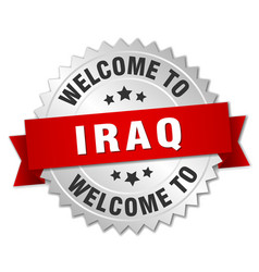 Iraq 3d silver badge with red ribbon vector
