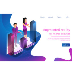 isometric man and woman engaged in online analytic vector image