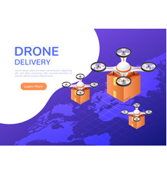 isometric web banner drone flying over world vector image