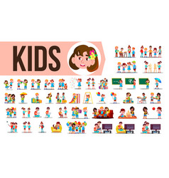 kids children set funny family members vector image