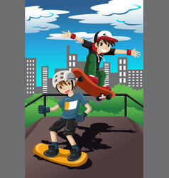 Kids playing skateboard vector