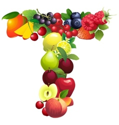 Letter T composed of different fruits with leaves vector image