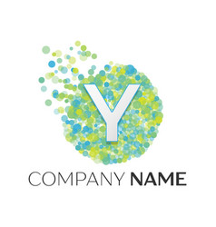 letter y logo blue green yellow particles vector image