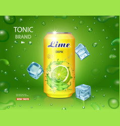Lime juice drink advertising mojito cocktail vector
