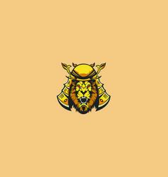 lion samurai mascot logo vector image