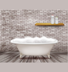 Luxury vintage bathtub with soap foam in bathroom vector