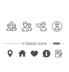 male and female profile and couple icons vector image