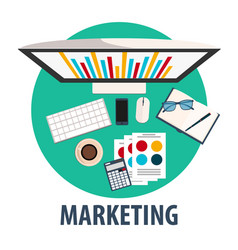 marketing flat design marketing vector image