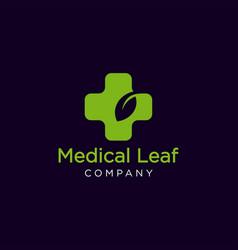 medical leaf logo vector image