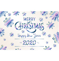 merry christmas and happy new year 2020 lettering vector image