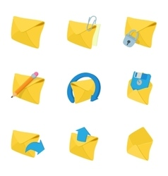 Message icons set cartoon style vector