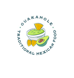 Mexican restaurant logo guacamole and nachos vector