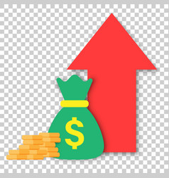 money trending icon in flat style coins with vector image