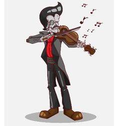 Monster in Halloween night skeleton play violin vector image