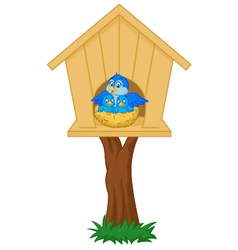 Mother bird with her two babies in the nest vector