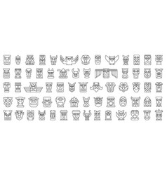 Native totem line set icon vector