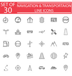 navigation line icon set transport signs vector image