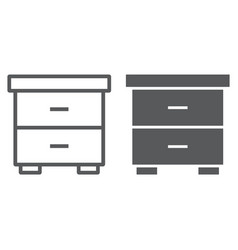 nightstand line and glyph icon furniture and home vector image