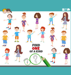one a kind task with children characters vector image