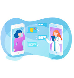 Online doctor app interface sick woman asking vector