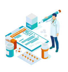 online doctor at work health medical science vector image