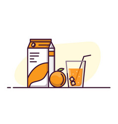 orange juice glass and pack vector image