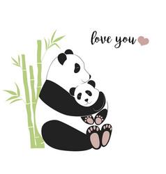 panda mother hugging baby vector image