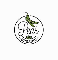 Peas vegetable logo round linear green pea vector
