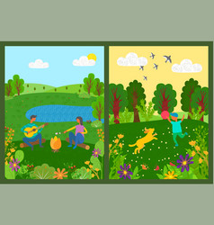 picnic and activity in park green nature vector image
