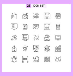 Pictogram set 25 simple lines file save vector