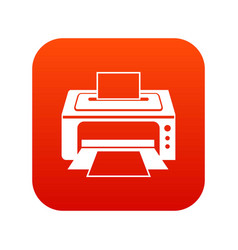 printer icon digital red vector image