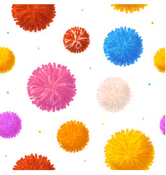 Realistic detailed 3d colorful pom poms seamless vector