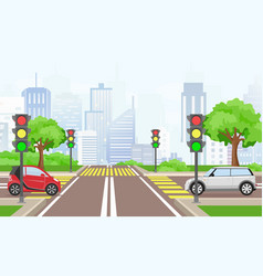 road cross with cars in the vector image
