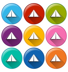 Round icons with camping tents vector image